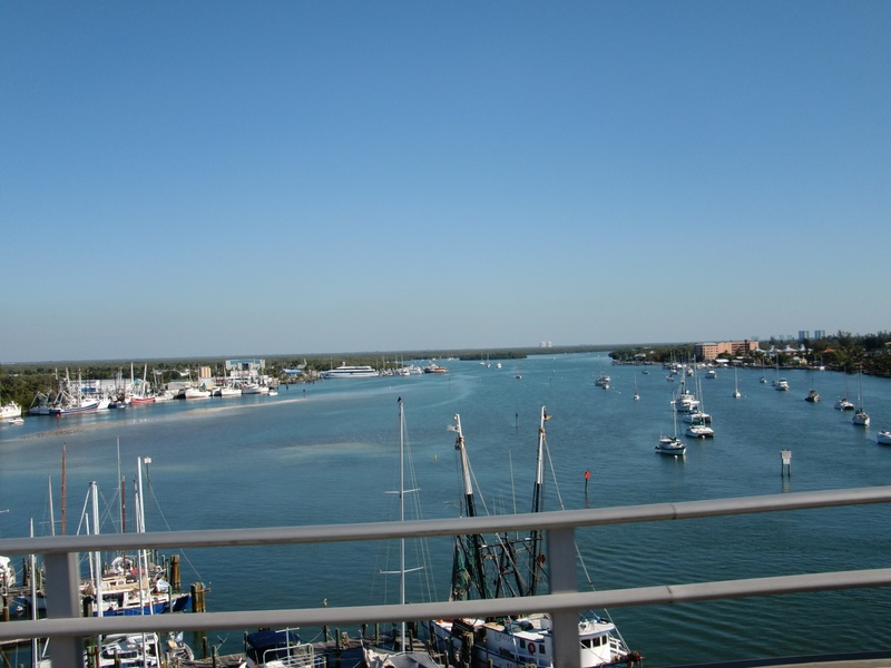 View from the top of the bridge leaving Fort Myers Beach